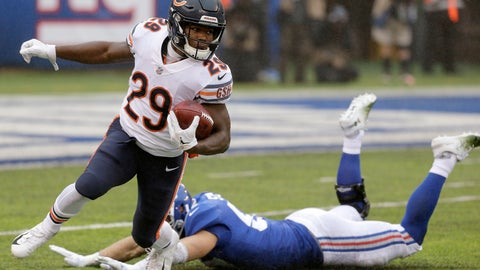 <p>               Chicago Bears' Tarik Cohen avoids a tackle from New York Giants' Nate Stupar while retiring a punt during the first half of an NFL football game, Sunday, Dec. 2, 2018, in East Rutherford, N.J. (AP Photo/Seth Wenig)             </p>