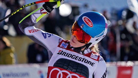 <p>               United States' Mikaela Shiffrin celebrates at the finish area of a women's World Cup super-G in St. Moritz, Switzerland, Saturday, Dec. 8, 2018. (AP Photo/Giovanni Auletta)             </p>