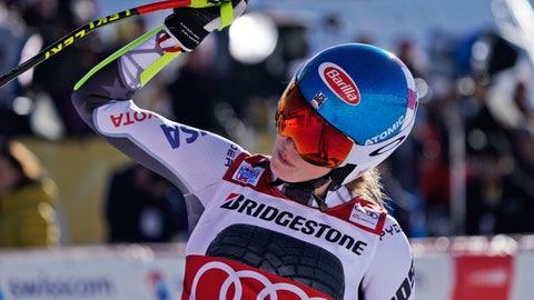<p>               United States' Mikaela Shiffrin celebrates at the finish area of a women's World Cup super-G in St. Moritz, Switzerland, Saturday, Dec. 8, 2018. (AP Photo/Giovanni Auletta)             </p>