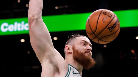 <p>               Boston Celtics center Aron Baynes (46) slams a dunk during the first quarter of a basketball game against the Phoenix Suns in Boston, Wednesday, Dec. 19, 2018. (AP Photo/Charles Krupa)             </p>