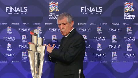 <p>               Portugal soccer team manager Fernando Santos from left, stands up during a press conference after the UEFA Nations League Finals draw at the Shelbourne Hotel, Dublin, Monday Dec. 3, 2018. (Niall Carson/PA via AP)             </p>