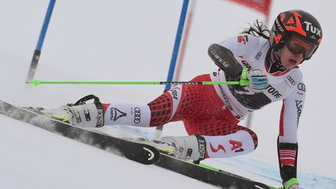 <p>               Austria's Stephanie Brunner speeds down the course during a ski World Cup women's Giant Slalom race, in Courchevel, France, Friday, Dec. 21, 2018. (AP Photo/Marco Tacca)             </p>