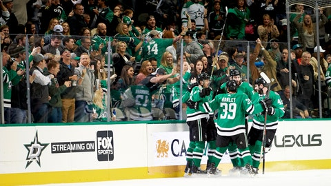 <p>               Dallas Stars center Mattias Janmark (13) celebrates with teammates after scoring a goal against the San Jose Sharks during the second period of an NHL hockey game Friday, Dec. 7, 2018, in Dallas. (AP Photo/Cooper Neill)             </p>