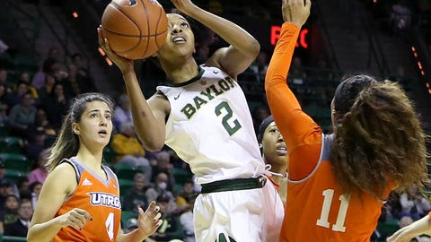 <p>               Baylor guard DiDi Richards (2) attempts a shot against University of Texas Rio Grande Valley guard Quynne Huggins (11) in the second half of an NCAA college basketball game, Monday Dec. 31, 2018, in Waco, Texas. (Jerry Larson/Waco Tribune-Herald via AP)             </p>