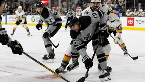 <p>               Los Angeles Kings center Michael Amadio (10) and Vegas Golden Knights right wing Alex Tuch (89) battle for the puck during the second period of an NHL hockey game Sunday, Dec. 23, 2018, in Las Vegas. (AP Photo/Joe Buglewicz)             </p>
