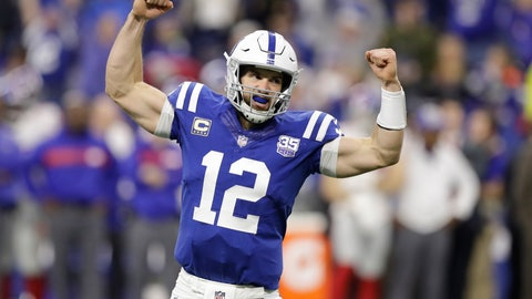 <p>               File-This Dec. 23, 2018, file photo shows Indianapolis Colts quarterback Andrew Luck (12) celebrating a game-winning touchdown during the second half of an NFL football game against the New York Giants in Indianapolis. Advantage Luck in this rivalry: he is 10-0 in his career starts vs. the Titans. He could become the only player since 1970 with an 11-0 mark against one team. (AP Photo/Darron Cummings, File)             </p>