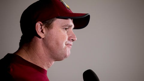 <p>               Washington Redskins head coach Jay Gruden pauses while speaking at a news conference at Redskins Park, Monday, Dec. 31, 2018, in Ashburn, Va. The Redskins ended their season yesterday with a 24-0 loss to the Philadelphia Eagles. (AP Photo/Andrew Harnik)             </p>
