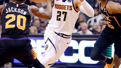 <p>               Denver Nuggets guard Jamal Murray (27) drives against Phoenix Suns forward Josh Jackson (20) during the first half of an NBA basketball game, Saturday, Dec. 29, 2018, in Phoenix. (AP Photo/Matt York)             </p>
