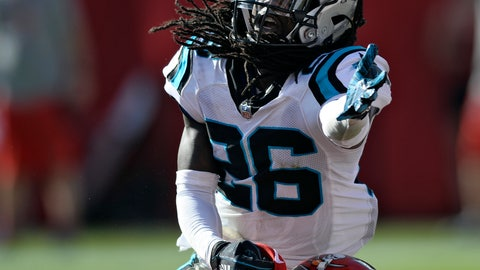 <p>               Carolina Panthers cornerback Donte Jackson (26) makes contact with Tampa Bay Buccaneers wide receiver Bobo Wilson (85) during the second half of an NFL football game Sunday, Dec. 2, 2018, in Tampa, Fla. Jackson was called for pass interference giving the Buccaneers the ball on the one-yard line. (AP Photo/Jason Behnken)             </p>