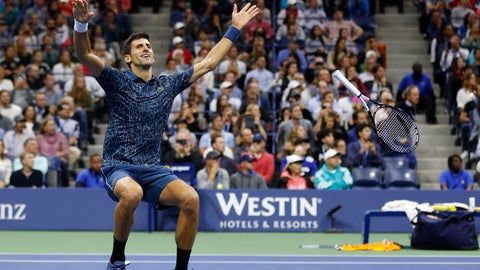<p>               Novak Djokovic, of Serbia, celebrates after defeating Juan Martin del Potro, of Argentina, during the men's final of the U.S. Open tennis tournament on Sept. 9, 2018, in New York. (AP Photo/Adam Hunger)             </p>