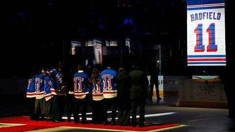 <p>               A banner is raised during a jersey retirement ceremony for former New York Ranger Vic Hadfield before an NHL hockey game between the New York Rangers and the Winnipeg Jets at Madison Square Garden. Sunday, Dec. 2, 2018, in New York. (AP Photo/Noah K. Murray)             </p>