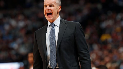 <p>               Oklahoma City Thunder head coach Billy Donovan directs his team against the Denver Nuggets in the second half of an NBA basketball game Friday, Dec. 14, 2018, in Denver. The Nuggets won 109-98. (AP Photo/David Zalubowski)             </p>