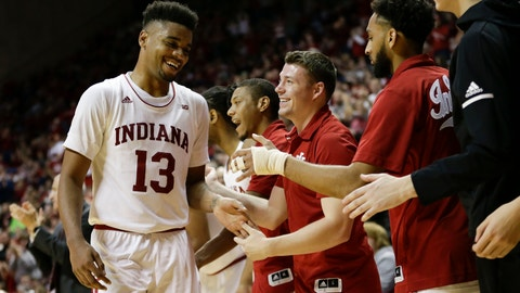 <p>               Indiana forward Juwan Morgan (13) is greeted by the bench as he leaves an NCAA college basketball game against Jacksonville in the second half of an NCAA college basketball game in Bloomington, Ind., Saturday, Dec. 22, 2018. (AP Photo/AJ Mast)             </p>