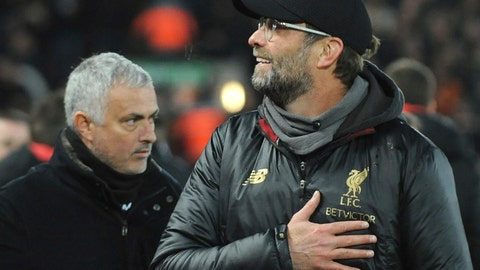 <p>               Liverpool manager Juergen Klopp, right, and Manchester United manager Jose Mourinho seen prior to the English Premier League soccer match between Liverpool and Manchester United at Anfield in Liverpool, England, Sunday, Dec. 16, 2018. (AP Photo/Rui Vieira)             </p>