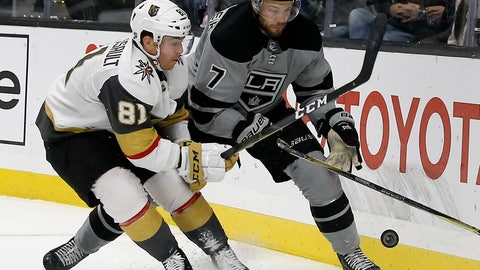 <p>               Vegas Golden Knights center Jonathan Marchessault, left, vies for the puck with Los Angeles Kings defenseman Oscar Fantenberg, right, of Sweden, during the first period of an NHL hockey game in Los Angeles, Saturday, Dec. 8, 2018. (AP Photo/Alex Gallardo)             </p>