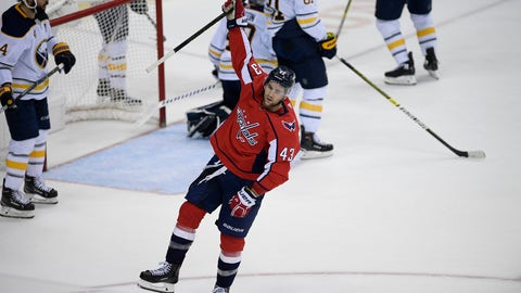 <p>               Washington Capitals right wing Tom Wilson (43) celebrates his goal during the third period of an NHL hockey game against the Buffalo Sabres, Friday, Dec. 21, 2018, in Washington. (AP Photo/Nick Wass)             </p>