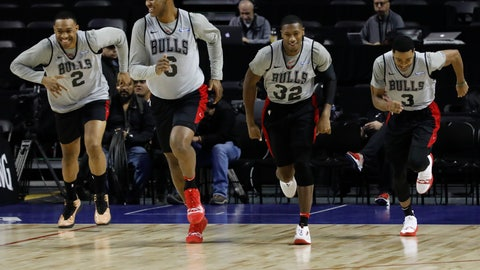 <p>               Chicago Bulls Jabari Parker, from left, Cristiano Felicio, Kris Dunn and Shaquille Harrison, warm up at the start of a basketball practice at the Mexico City Arena in Mexico City, Wednesday, Dec. 12, 2018. The Bulls will face Orlando Magic Thursday in the first of two 2018 regular-season NBA games to be played in the high-altitude Mexican capital. (AP Photo/Rebecca Blackwell)             </p>