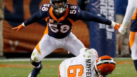 <p>               Denver Broncos outside linebacker Von Miller (58) reacts to sacking Cleveland Browns quarterback Baker Mayfield (6) during the second half of an NFL football game, Saturday, Dec. 15, 2018, in Denver. The sack was Miller's 98th career sack making him the all-time Denver Broncos leader in sacks. (AP Photo/David Zalubowski)             </p>