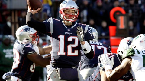 <p>               New England Patriots quarterback Tom Brady passes under pressure from the New York Jets during the first half of an NFL football game, Sunday, Dec. 30, 2018, in Foxborough, Mass. (AP Photo/Charles Krupa)             </p>
