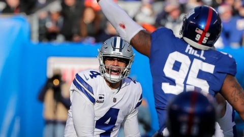 <p>               Dallas Cowboys quarterback Dak Prescott, left, throws during the first half of an NFL football game against the New York Giants, Sunday, Dec. 30, 2018, in East Rutherford, N.J. (AP Photo/Frank Franklin II)             </p>