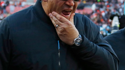 <p>               Carolina Panthers head coach Ron Rivera walks off the field after the Cleveland Browns defeated his team in an NFL football game, Sunday, Dec. 9, 2018, in Cleveland. (AP Photo/Ron Schwane)             </p>