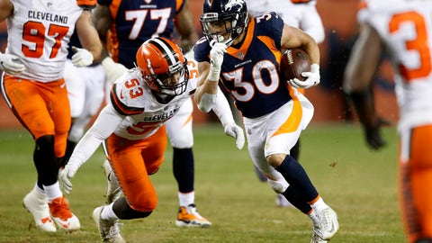 <p>               FILE - In this Saturday, Dec. 15, 2018 file photo, Denver Broncos running back Phillip Lindsay (30) runs as Cleveland Browns middle linebacker Joe Schobert (53) pursues during the second half of an NFL football game in Denver. Phillip Lindsay never once thought he'd become the first undrafted offensive player to make the Pro Bowl. He's been too busy making tacklers miss and general managers regret passing him over in the NFL draft because he stands just 5-foot-8.(AP Photo/Jack Dempsey, File)             </p>