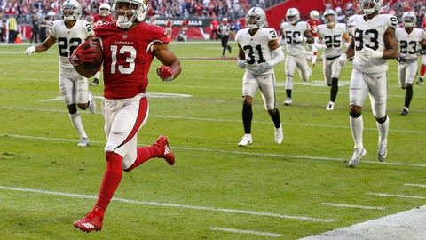 <p>               FILE - In this Nov. 18, 2018, file photo, Arizona Cardinals wide receiver Christian Kirk (13) runs for a touchdown after a catch against the Oakland Raiders during the first half of an NFL football game in Glendale, Ariz. Kirk broke a foot in a game Sunday, Dec. 2, 2018, at Green Bay and is out for the season. (AP Photo/Ross D. Franklin, File)             </p>