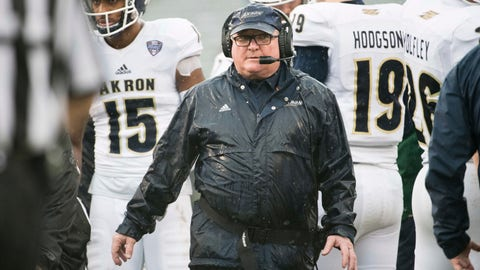 <p>               Akron head coach Terry Bowden walks back to the sideline after a timeout during the first half of an NCAA college football game Saturday, Dec. 1, 2018, in Columbia, S.C. South Carolina defeated Akron 28-3. (AP Photo/Sean Rayford)             </p>