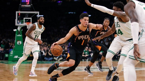 <p>               Phoenix Suns guard Devin Booker (1) drives to the basket against the Boston Celtics during the second half of a basketball game in Boston, Wednesday, Dec. 19, 2018. The Suns defeated the Celtics 111-103. (AP Photo/Charles Krupa)             </p>