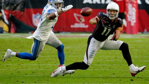 <p>               Arizona Cardinals wide receiver Larry Fitzgerald (11) makes his 1,282nd career catch to surpass NFL Hall of Famer Jerry Rice for the most receptions with one team in NFL history during the second half of an NFL football game as Detroit Lions cornerback Nevin Lawson (24) defends, Sunday, Dec. 9, 2018, in Glendale, Ariz. (AP Photo/Rick Scuteri)             </p>