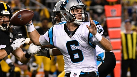 <p>               FILE - In this Aug. 30, 2018, file photo, Carolina Panthers quarterback Taylor Heinicke (6) throws a pass during the first half of a preseason NFL football game against the Pittsburgh Steelers in Pittsburgh. Heinicke will be making his first career start against the Falcons with Cam Newton out with a shoulder injury. (AP Photo/Don Wright, File)             </p>