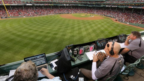 <p>               FILE - In this Aug. 3, 2014, file photo, ESPN television broadcasters prepare to cover a baseball game between the New York Yankees and the Boston Red Sox from the top of the Green Monster at Fenway Park, moments before the game, in Boston. ESPN plans to announce it will move up the starting time of the nationally televised game by one hour, with the first pitch planned for shortly after 7 p.m. EDT. The network intends to make the announcement on Monday, Dec. 10, 2018, at the winter meetings, a person familiar with the decision told The Associated Press. The person spoke on condition of anonymity Sunday because the announcement had not yet been made. (AP Photo/Steven Senne, File)             </p>