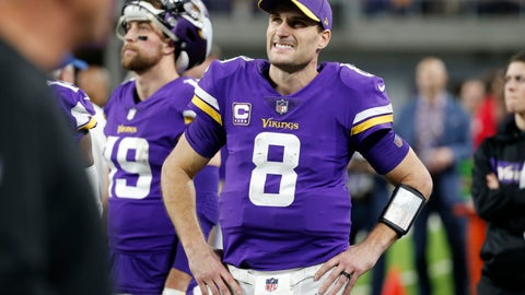<p>               Minnesota Vikings quarterback Kirk Cousins (8) watches from the bench during the second half of an NFL football game against the Chicago Bears, Sunday, Dec. 30, 2018, in Minneapolis. (AP Photo/Bruce Kluckhohn)             </p>