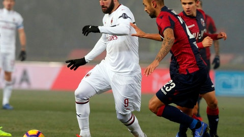 "<p>               Milan's Gonzalo Higuain, left, and Bologna's Larangeira Danilo vie for the ball during the Italian Serie A soccer match between Bologna and Milan at ""Dall'Ara"" stadium in Bologna, Italy, Tuesday,  Dec. 18, 2018. (Giorgio Benvenuti/ANSA via AP)             </p>"
