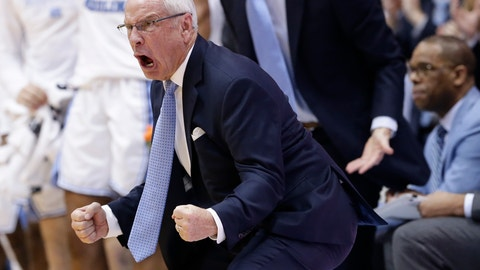 <p>               FILE - In this Saturday, Dec. 15, 2018, file photo, North Carolina head coach Roy Williams reacts during the second half of an NCAA college basketball game against Gonzaga in Chapel Hill, N.C. North Carolina has given basketball coach Williams an eight-year contract extension that runs through the 2027-28 season. (AP Photo/Gerry Broome, File)             </p>