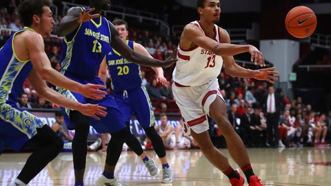 <p>               Stanford's Oscar da Silva, right, passes away from San Jose's Oumar Barry (13) during the first half of an NCAA college basketball game Tuesday, Dec. 18, 2018, in Stanford, Calif. (AP Photo/Ben Margot)             </p>