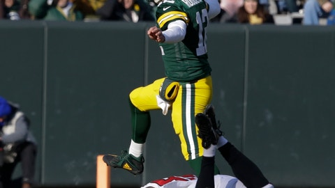 <p>               Green Bay Packers' Aaron Rodgers scrambles during the first half of an NFL football game against the Atlanta Falcons Sunday, Dec. 9, 2018, in Green Bay, Wis. (AP Photo/Jeffrey Phelps)             </p>