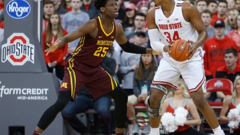 <p>               Ohio State's Kaleb Wesson, right, posts up against Minnesota's Daniel Oturu during the first half of an NCAA college basketball game Sunday, Dec. 2, 2018, in Columbus, Ohio. (AP Photo/Jay LaPrete)             </p>