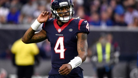<p>               FILE - In this Sunday, Dec. 9, 2018, file photo, Houston Texans quarterback Deshaun Watson (4) looks up at the scoreboard during the second half of an NFL football game against the Indianapolis Colts, in Houston. After having their franchise-record nine-game winning streak stopped last Sunday, Watson and the Texans are focused on getting back into the win column Saturday when they play the New York Jets. (AP Photo/Eric Christian Smith, File)             </p>