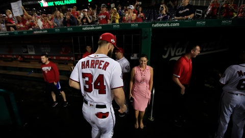 <p>               FILE - In this Sept. 26, 2018 file photo, Washington Nationals Bryce Harper (34) leaves the field as the Nationals ended their last home game of the season with a 9-3 rain delayed win against the Miami Marlins in Washington.  As much as the Nationals already have done to try to improve a team that flopped in 2018, one question will hover over their offseason until it's resolved: What is going to happen with Harper?  (AP Photo/Manuel Balce Ceneta, File)             </p>