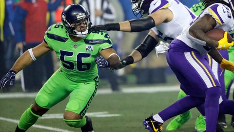 <p>               In this Dec. 10, 2018, photo, Seattle Seahawks linebacker Mychal Kendricks (56) blocks against the Minnesota Vikings during an NFL football game in Seattle. Kendricks' season came to an abrupt end Wednesday, Dec. 12, 2018, when he was placed on injured reserve after hurting his left leg during the Seahawks' win over the Vikings. (AP Photo/Ted S. Warren)             </p>