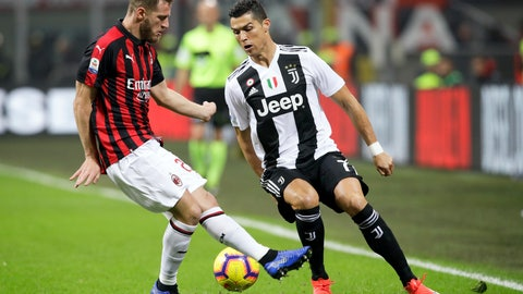 <p>               FILE - In this Sunday, Nov. 11, 2018 file photo, AC Milan's Ignazio Abate , left, and Juventus' Cristiano Ronaldo fight for the ball during a Serie A soccer match between AC Milan and Juventus, at Milan's San Siro stadium, Italy. Serie A has announced details of the Italian Super Cup to be played in Saudi Arabia next month despite calls for the game to be moved after the killing of Washington Post columnist Jamal Khashoggi. The match between Juventus and AC Milan is slated to be played Jan. 16 at the King Abdullah Sports City Stadium in Jeddah. (AP Photo/Luca Bruno, File )             </p>