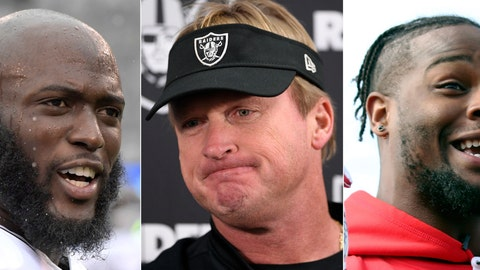 <p>               FILE - These are 2018 file photos showing Jacksonville Jaguars running back Leonard Fournette, left, Oakland Raiders head coach Jon Gruden, center, and  Running back Le'Veon Bell. Jon Gruden's return to Oakland was one of the biggest headlines of the offseason, but the Raiders have been a dud in year one of the makeover. Fournette hasn't been healthy, and neither has his performance. And Le'Veon Bell never set foot on the field with the Pittsburgh Steelers. (AP Photo/File)             </p>