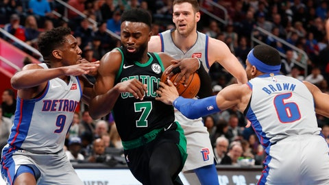 <p>               Boston Celtics guard Jaylen Brown (7) drives between Detroit Pistons guard Langston Galloway (9) and Bruce Brown (6) in the first half of an NBA basketball game in Detroit, Saturday, Dec. 15, 2018. (AP Photo/Paul Sancya)             </p>