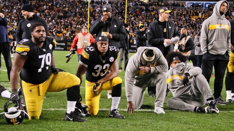 <p>               Pittsburgh Steelers nose tackle Javon Hargrave (79) and running back Trey Edmunds (33) watch along with other teammates as the Cleveland Browns play against the Baltimore Ravens as the game is shown on the scoreboard screen after they defeated the Cincinnati Bengals in their NFL football game, Sunday, Dec. 30, 2018, in Pittsburgh. The Ravens won diminishing the Steelers chances of making the playoffs. (AP Photo/Gene J. Puskar)             </p>
