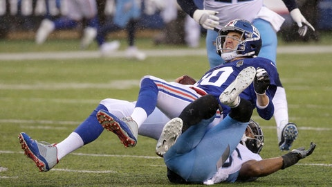 <p>               New York Giants quarterback Eli Manning, top, is sacked by Tennessee Titans cornerback Logan Ryan during the first half of an NFL football game, Sunday, Dec. 16, 2018, in East Rutherford, N.J. (AP Photo/Seth Wenig)             </p>