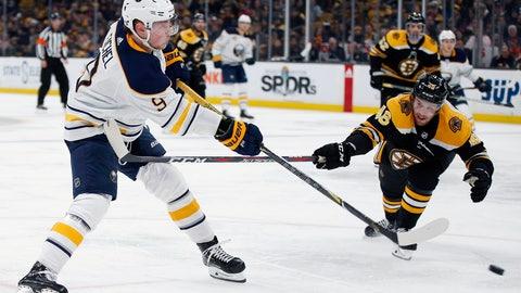 <p>               Buffalo Sabres' Jack Eichel (9) shoots past Boston Bruins' Matt Grzelcyk (48) to score against Tuukka Rask during the third period of an NHL hockey game in Boston, Sunday, Dec. 16, 2018. (AP Photo/Michael Dwyer)             </p>