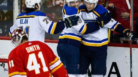 <p>               St. Louis Blues' Oskar Sundqvist, right, of Sweden, celebrates his goal with teammates Ivan Barbashev, center, of Russia, and Jordan Nolan, left, as Calgary Flames goalie Mike Smith looks away during the third period of an NHL hockey game Saturday, Dec. 22, 2018, in Calgary, Alberta. (Jeff McIntosh/The Canadian Press via AP)             </p>