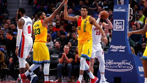 <p>               Milwaukee Bucks forward Giannis Antetokounmpo (34) celebrates a basket with Sterling Brown (23) in the second half of an NBA basketball game against the Detroit Pistons in Detroit, Monday, Dec. 17, 2018. (AP Photo/Paul Sancya)             </p>