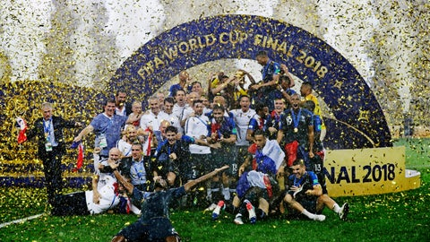 <p>               The French team celebrates after winning the final match against Croatia at the 2018 soccer World Cup in the Luzhniki Stadium in Moscow, Russia, on July 15, 2018. (AP Photo/Matthias Schrader)             </p>